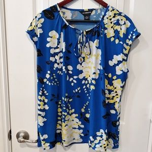 Liz Claiborne Cap Sleeve Blouse in Blue/Yellow